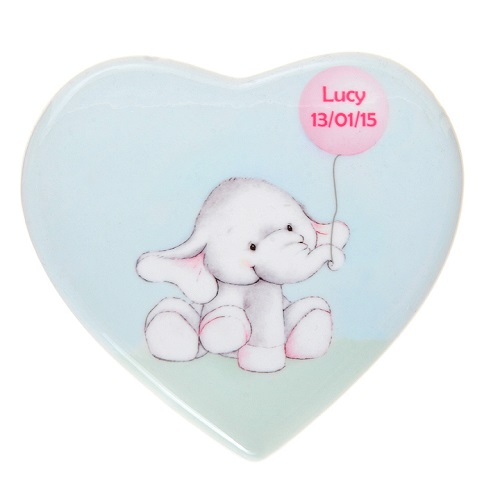 Elephant ceramic heart personalised new baby or christening gift